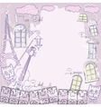 Background with music cat and city vector image vector image