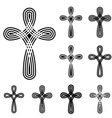 Christian cross ornamental knot symbol vector image