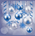 christmas background in blue and silver vector image
