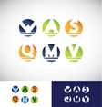 Circle sphere alphabet letter logo icon set vector image