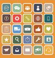 Customer service flat icons on orange background vector image