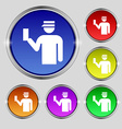 Inspector icon sign Round symbol on bright vector image