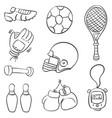 doodle of various sport equipment vector image