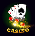 casino poster with poker cards suits and dices vector image