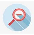 Single flat magnifying glass icon with long shadow vector image