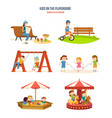 walking with the children in fresh air cycling vector image
