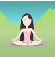 Girl sitting in the lotus pose and meditating vector image