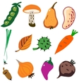 Vegetables doodle cartoon set vector image vector image