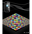 Global mobile phone apps icons wall vector image
