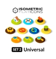 Isometric flat icons set 2 vector image