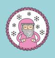 cute pink santa claus christmas decoration badge vector image