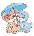 enamored bunnies with umbrella vector image