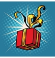 Red gift box with Golden ribbons vector image