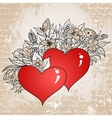 Vintage sketch of hearts and flowers vector image