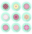 various cakes flat icon set vector image