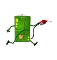 Credit card character with gasoline pump vector image