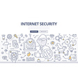 Internet Security Doodle Concept vector image