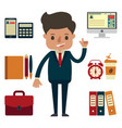 businessman with office equipment vector image