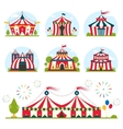 cartoon circus tent with stripes and flags vector image