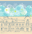 christmas card blue sky snowflakes border vector image