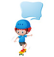 little boy playing skateboard vector image