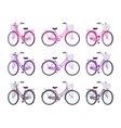 set of female bicycles with basket in pink purple vector image