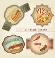 vintage food labels set - vector image