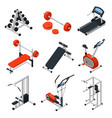 gym equipment isometric set vector image