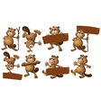 A group of beavers with empty wooden boards vector image