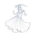 Belly Dancer figure gesture sketch line drawing vector image
