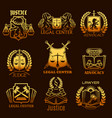 advocacy lawyer gold icons of legal justice vector image
