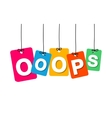 colorful hanging cardboard Tags - ooops vector image
