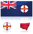 New South Wales flag and map vector image