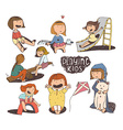 Set of fun and kind kids Girls playing outdoors vector image