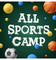 Sports summer training camp themed poster vector image