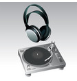 turntable and headphone vector image