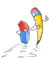 walking cartoon lead pencil vector image