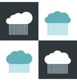 Flat cloud icons with rain on white and dark vector image vector image