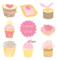 Cute Cupcakes Seamless Pattern vector image vector image