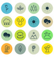 set of 16 harmony icons includes cold climate vector image
