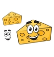 Smiling happy cartoon wedge of cheese vector image vector image