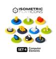 Isometric flat icons set 4 vector image