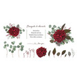 floral bouquet design with garden red burgundy vector image