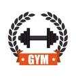 gym sport emblem dumbbell vector image