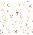 Hand drawn cotton flowers seamless pattern vector image