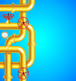 Yellow plumbing pipes on blue background place for vector image