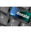 donate button on computer keyboard pc key vector image
