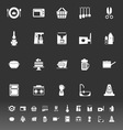 Home kitchen icons on gray background vector image