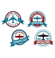 Airplane tours and adventures badges vector image vector image