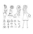 Fashion shopping icon doodle set vector image vector image